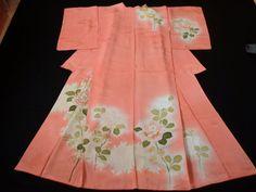Japanese Vintage Kimono , SILK , Light pink , Flower , P012708    eBay