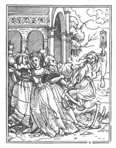 """""""dance of death."""" This allegory that personified death as an ever-present omen of the inevitable end for everyone was illustrated in a series of woodcuts by Hans Holbein the Younger in 1526."""