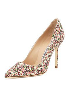 X2KSL Manolo Blahnik BB Fabric 105mm Pump, Rose Liberty (Made to Order)