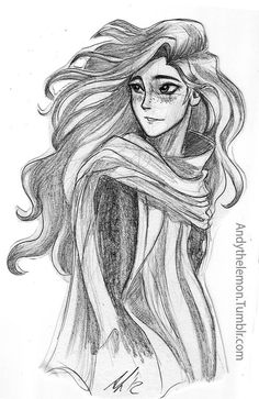 A beautiful pencil sketch of a female character, by Andy the Lemon on Tumblr.