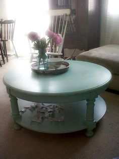 beach cottage aqua round distressed coffee table •bambi dear