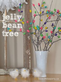 Jelly Bean Tree: how to make a jelly bean tree for Easter with sticks, a glue gun, and some jelly beans!