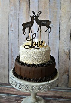 Buck and doe-wedding-cake topper-bride-groom-deer-hunter-camouflage-Mr. and Mrs.-custom-deer lover-rustic-woodland-western-hunter on Etsy, $15.99