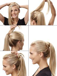 Schöne Frisur und super schnell nachgestylt: Das Haargummi wird durch eine dünne Haarsträhne verdeckt und wirkt dadurch eleganter. In unserer Video-Anleitung zeigen wir euch, wie ihr den festlichen Pferdeschwanz nachmachen könnt.Hoher Ponytail zum Nachmachen