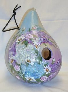 Hydrangea with Roses Flower Garden Gourd by FromGramsHouse on Etsy