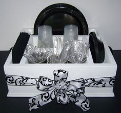 Elegant black and white party decor tableware utensil holder caddy organizer for napkins paper plates utensils and more : paper plate and utensil caddy - pezcame.com