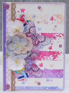 Striped card with butterflies.