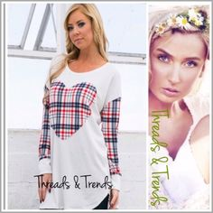 """Last One! Heart Plaid Tunic Plaid Heart tunic  • elbow patches • dolman sleeves  • slightly oversized • striped  Made of cotton/spandex  Measurements  S/M Length: 29.5""""/31"""" (front/back length) Bust: 41""""  M/L Length: 30""""/32"""" Bust: 42""""  Item # 006 chiffon Threads & Trends Tops"""