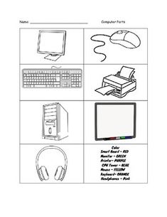 Color the Computer Parts Worksheet
