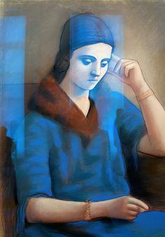 Olga pensive - pastel et crayon noir sur papier - Paris 1923 Henri Rousseau, Edouard Vuillard, Marcel Proust, Russian Art, Pablo Picasso, African Art, Mona Lisa, History, Artwork