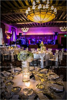 Beautiful centerpieces and reception decor at the Detroit Athletic Club.