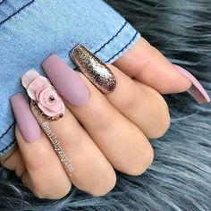 """May 2020 - Explore weddingsonlyin's board """"Bridal Nail Art Designs Mauve Nails, Glam Nails, Nail Manicure, White Nails, Toe Nails, Beauty Nails, Glitter Nails, Gold Glitter, Coffin Nails"""