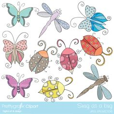 You'll be snug as a bug with these super cute decorative bugs, butterflies, dragonfly and lady bugs. Great for scrapbooking, cards, invitations, picnic, summer and garden themes.