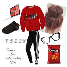 Netflix and chill? by mathildajess on Polyvore featuring polyvore, fashion, style, Wolford, adidas Originals and Spitfire
