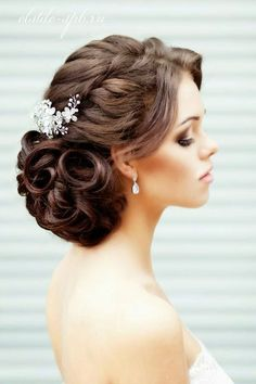 romantic updos wedding hairstles with curls for long hair: