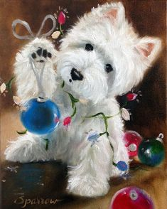 NEEDLEPOINT CANVAS PRINT Westie West Highland Terrier Dog Art by Mary Sparrow Holiday Christmas Ornaments Lights