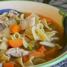 This soul-warming soup is deliciously simple--just chicken and noodles. What makes it so good is the homemade roasted chicken stock.