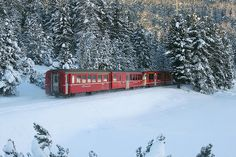 Swiss Red Train in the Engadine Valley, Switzerland