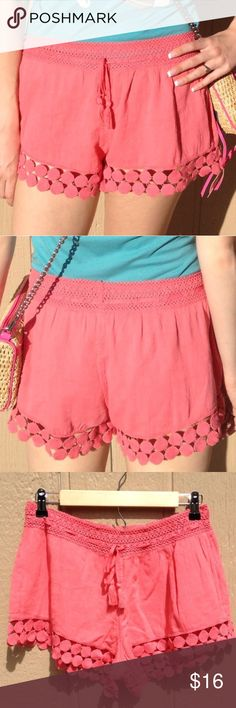 Crochet Shorts Adorable shorts in a coral/pink color by American Eagle. So cute, comfy, and perfect for summer! Great for that relaxed, yet put together vibe. Brand new with tags. Bundle & save. 😊 American Eagle Outfitters Shorts