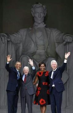 President Barack Obama, First Lady Michelle Obama and former Presidents Jimmy Carter and Bill Clinton at the Anniversary of the March on Washington today. The Obama Diary Beautiful