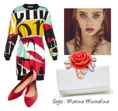 """""""Coctail evening look 01"""" by imagemaker-mustafina ❤ liked on Polyvore featuring Moschino, GUESS, Mawi, NewYears, dress, cocktail, evening and newyear"""