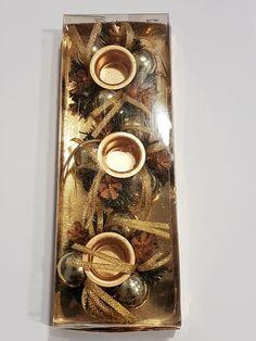 3 er Set Kerzenhalter gold Weihnachten vintage Tischschmuck Advent Kranz Deko