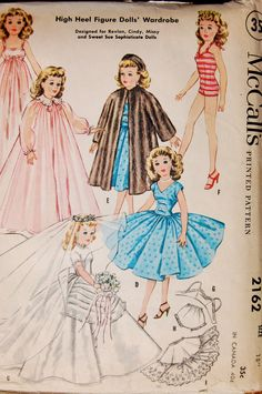 """Vintage Sewing Pattern - McCalls 2162, Size 18"""" Doll Clothes for Cindy, Revlon, Missy and Sweet Sue"""
