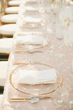 Pink and Gold Wedding at The London West Hollywood & Could use clear plates with a piece of paper underneath with a verse ...