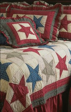 Love the patriotic quilt and shams-WITHOUT the ruffles. Patchwork Quilt, Blue Quilts, Star Quilts, Quilt Blocks, Quilt Top, Colchas Country, Country Quilts, Quilting Tips, Quilting Projects