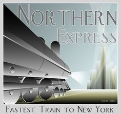 I wanted to achieve an old Art Deco poster effect, mixing a little modern stuff. I might later make a retro ad for a modern airline. Art Deco poster New York Art Nouveau, Train Posters, Railway Posters, Trains, Train Art, Art Deco Posters, Modern Art Deco, Art Deco Furniture, Vintage Travel Posters