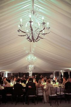 Chandeliers For a Tented Reception!