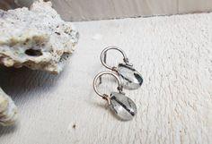 Black rutile quartz drop post earrings by CultivatedDreams on Etsy