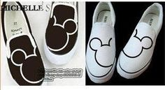 Mickey Mouse Shoes Hand Painted Mickey Mouse by canvasshoesetsy, $27.99: