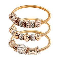 Damen Armreif Kristall Strass Armband Armspange Schmuck Gold Bracelet Hot