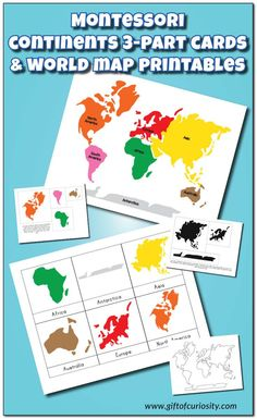 Montessori Continents 3-Part Cards and Montessori World Map and Continents printables with 3 color options and lots of possible activities. This is a FANTASTIC resource for teaching geography to kids! || Gift of Curiosity