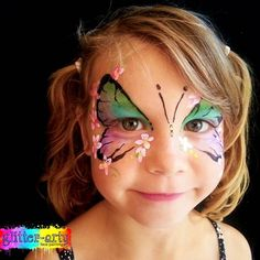 Butterfly face painting by Glitter-Arty Face Painting Entertainment Bedford, Bedfordshire Butterfly Face Paint, Girl Face Painting, Glitter Face, Henna Artist, Face Art, Girly, Entertainment, Pretty, Projects