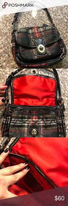Coach Patent Leather Plaid Small Purse This is a small Coach purse just a bit bigger than a large clutch. It would be so cute for a little girl! It is basically brand new, I just forgot I had it for a long time. Coach Bags Clutches & Wristlets