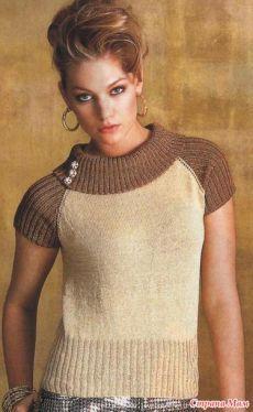 Летний пуловер-реглан спицами.
