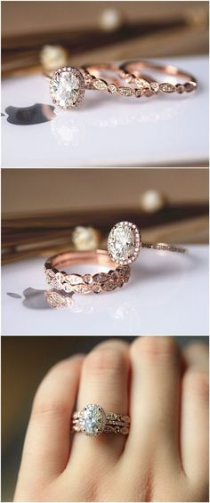 3PCS Ring Set ! 6x8mm Oval Brilliant Moissanite Ring Set Wedding Ring Set Solid 14K Rose Gold Ring Set / / http://www.deerpearlflowers.com/rose-gold-engagement-rings/ #WeddingJewelry #weddingring