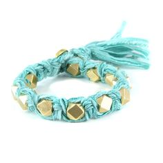 Turquoise Vintage Ribbon Large Faceted Beads Knotted Bracelet #ettika #rocker #rockandroll #jewelry #accessories  #boho