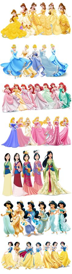 Princess Disney evolution. I don't like Cinderella because she doesn't look the same and I hate Mulan because she is wearing a sequin dress which makes no sense because she is Mulan......