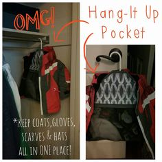 Hang-It Up Pocket by Thirty-One Store gloves, hats and scarves in the zippered pocket and hang jacket over top! #winterstorage #pinkbagdiva #organize
