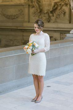 Short elopement dress: http://www.stylemepretty.com/california-weddings/san-francisco/2015/06/19/sweet-san-francisco-city-hall-elopement/ | Photography: Jasmine Lee - http://jasmineleephotography.com/