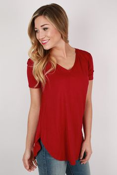 At First Crush Short Sleeve V-Neck Tee in Burgundy