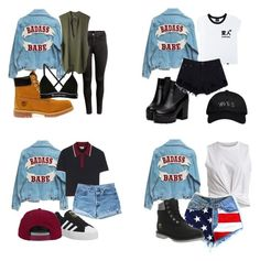 """""""BAD*$$ BABES"""" by montanalegare ❤ liked on Polyvore featuring H&M, adidas Originals, Timberland, T By Alexander Wang, Illustrated People, October's Very Own, Miu Miu, adidas, Levi's and VILA"""