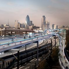 """Foster promotes """"cycling utopia"""" named SkyCycle above London railways.  Looks cold/should be covered. Architects, sheesh. Does this guy even ride a bike?"""