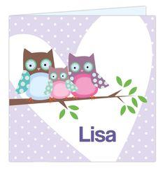 LIEF origineel geboortekaartje uit de design-collectie van 'Leintjes' #geboortekaartje #lief #trendy #meisje #uil #stippen #leintjes