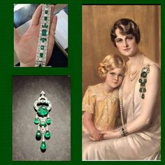 """The diamond and emerald jewels of cereal heiress, Marjorie Merriweather Post:  Ms. Post was pictured here with daughter, Dina Merrill. She was known as the """"American Czarina"""" because of her vast wealth. She was a collector of rare jewels and art, a philanthropist and a feisty businesswoman. She made numerous donations of historical jewels to the Smithsonian Institute of America. She is the aunt of Barbara Hutton through Ms. Post's marriage to E. F.Hutton."""