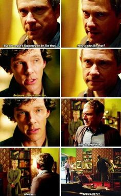 This moment int he show is somewhat heartbreaking as John asks Sherlock why his wife is who she is. What Sherlock says is true, but the fact that he turns to Sherlock in that moment says so much about their friendship. Sherlock Fandom, Sherlock John, Sherlock Holmes Benedict, Sherlock Series, Sherlock Quotes, Watch Sherlock, Jim Moriarty, Johnlock, Martin Freeman