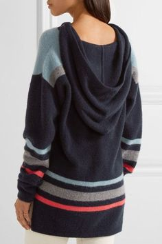 The Elder Statesman - Heavy Hockey Hooded Striped Cashmere Sweater - Navy -